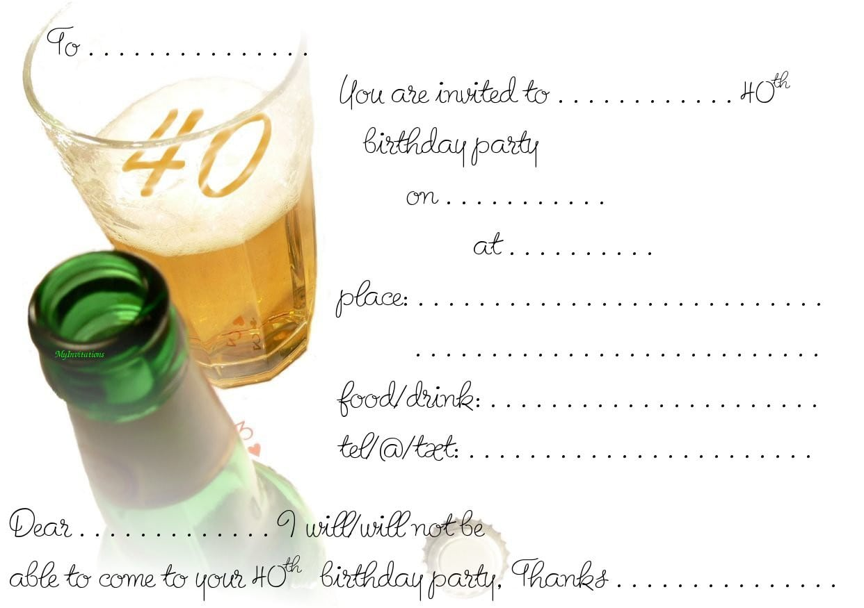 40th birthday party invitation template