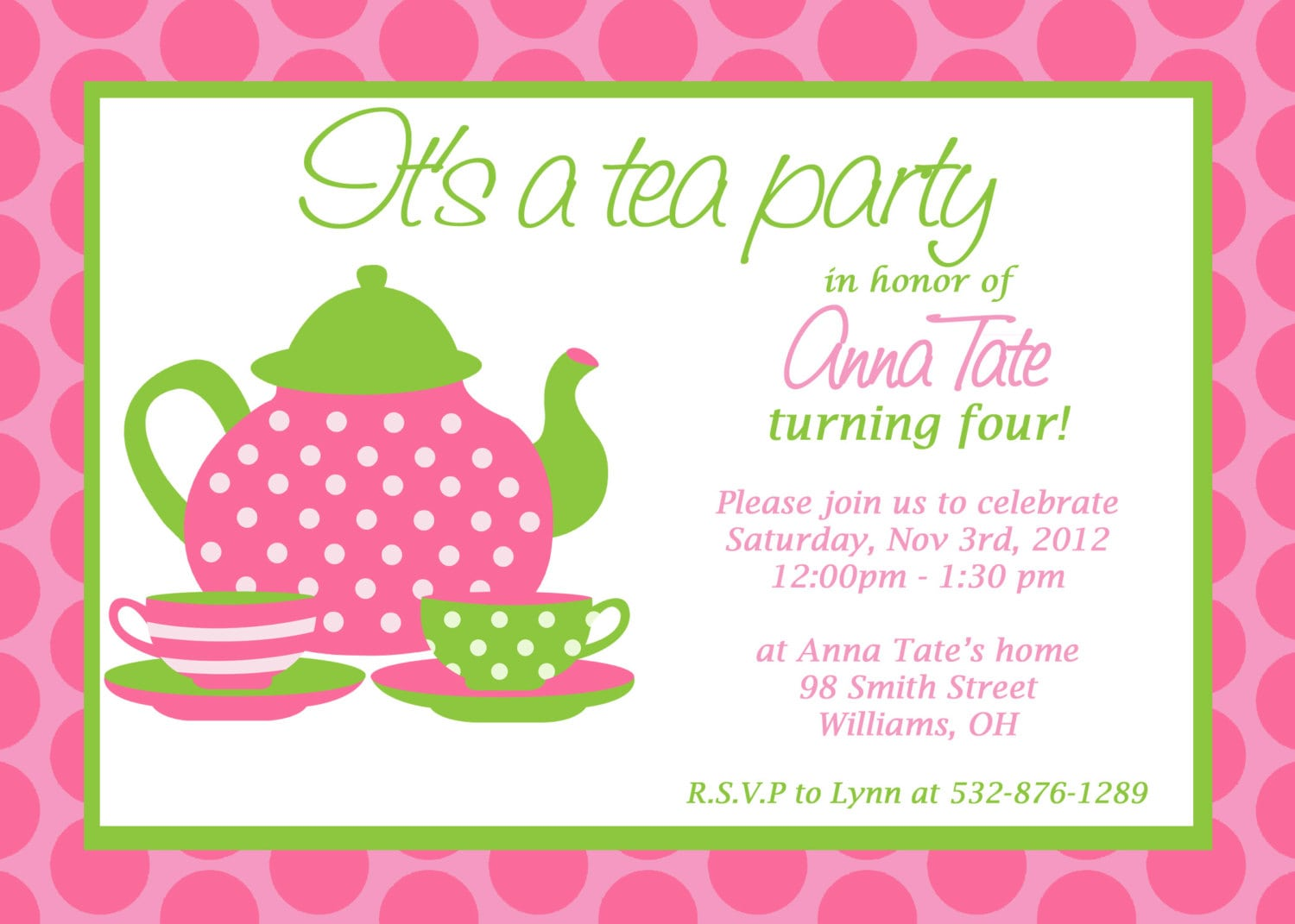 Free Printable Tea Party Invitations For Little Girls