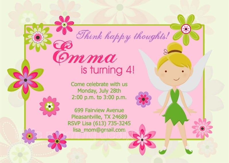 Free Printable Tinkerbell Birthday Party Invitations 2