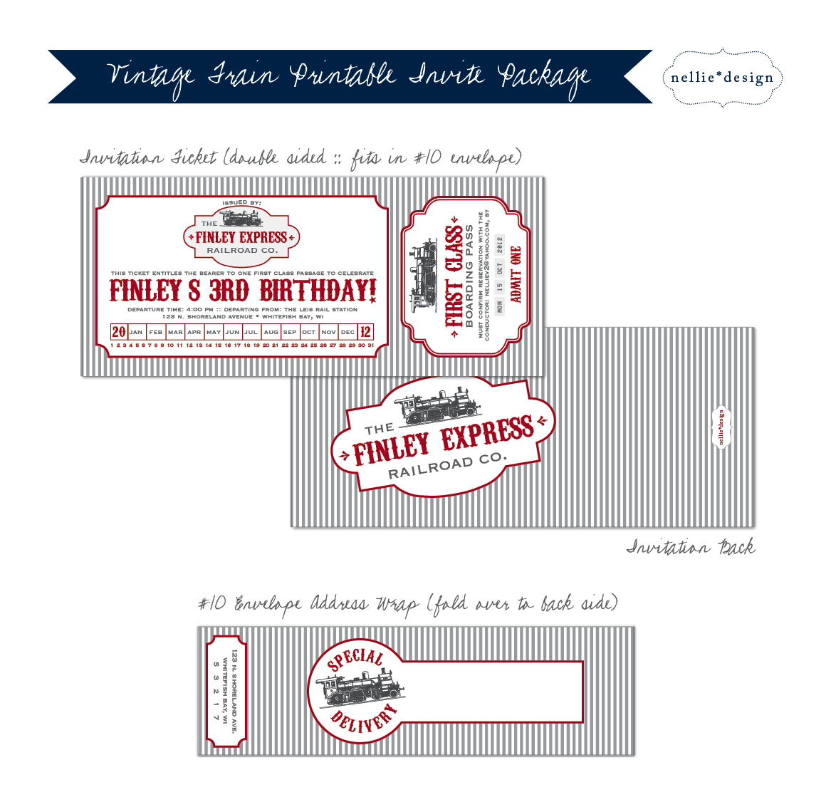Free Printable Train Ticket Birthday Invitations
