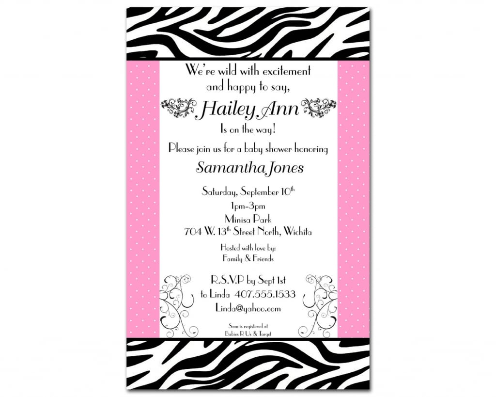 Free Printable Zebra Baby Shower Invitations Templates