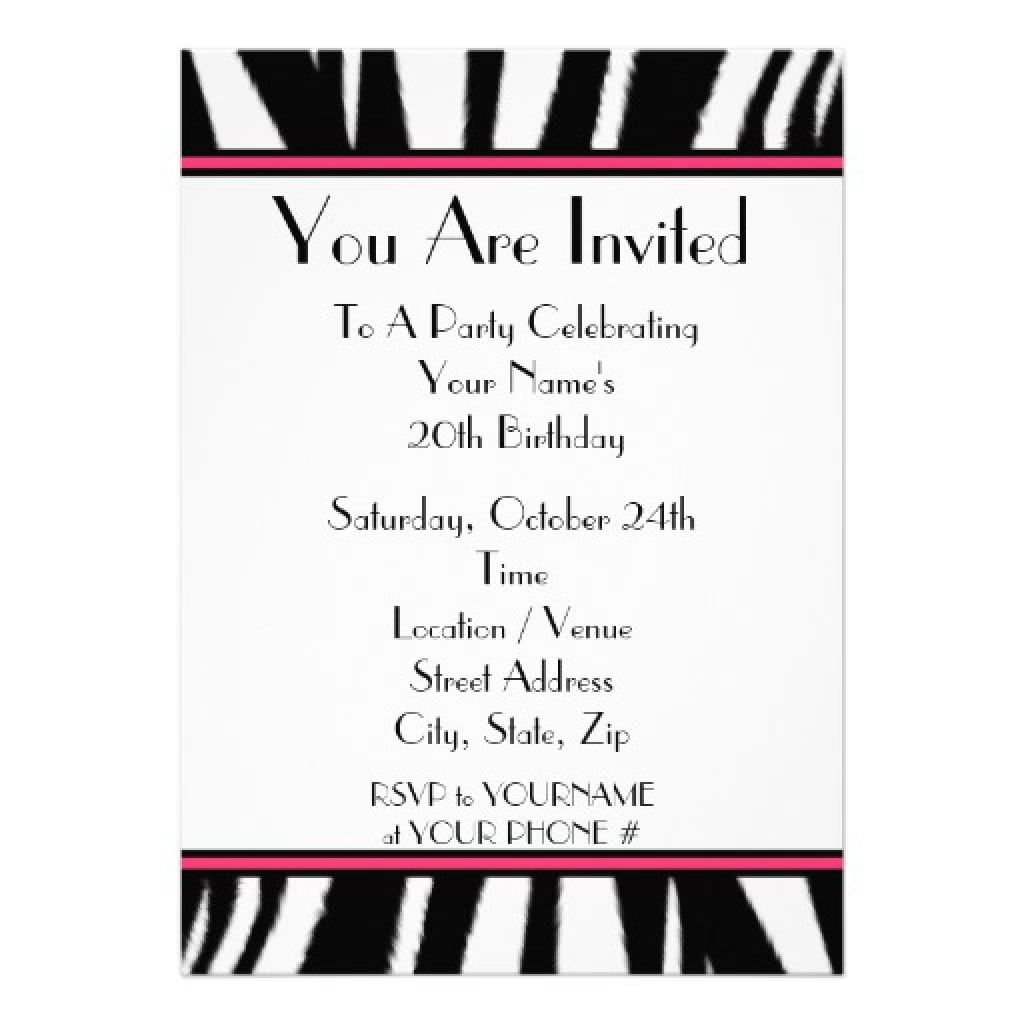 Free Printable Zebra Birthday Invitation Templates