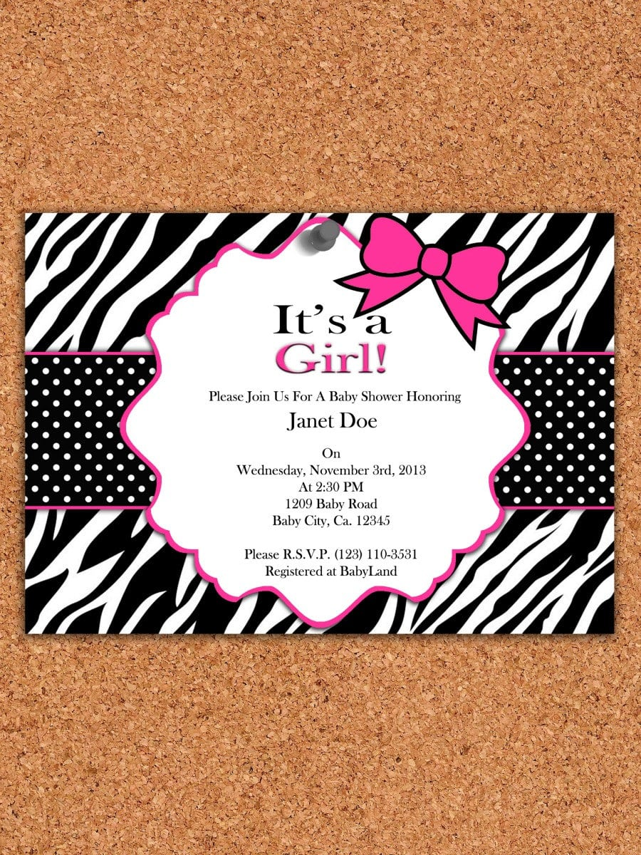 Free Printable Zebra Print Baby Shower Invitations