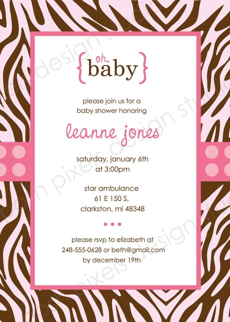 Free Printable Zebra Print Invitations Baby Shower