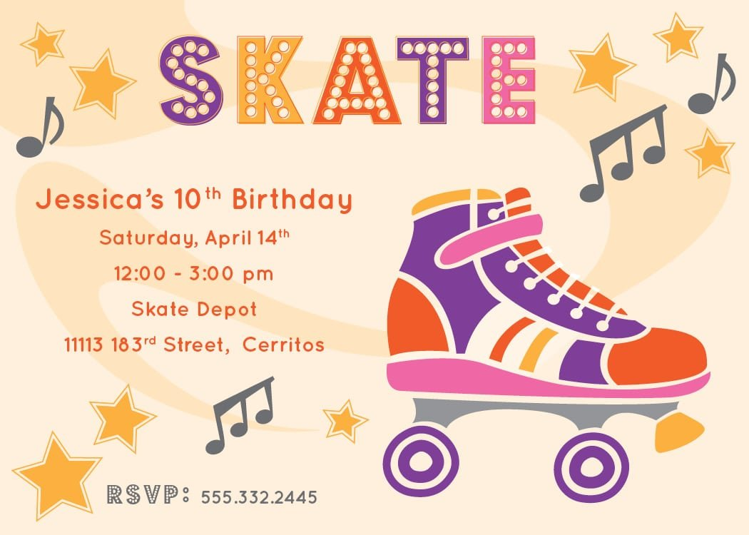 Free Roller Skating Party Invitations Printables