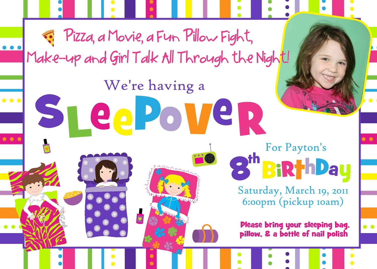 Free Slumber Party Printable Invitations