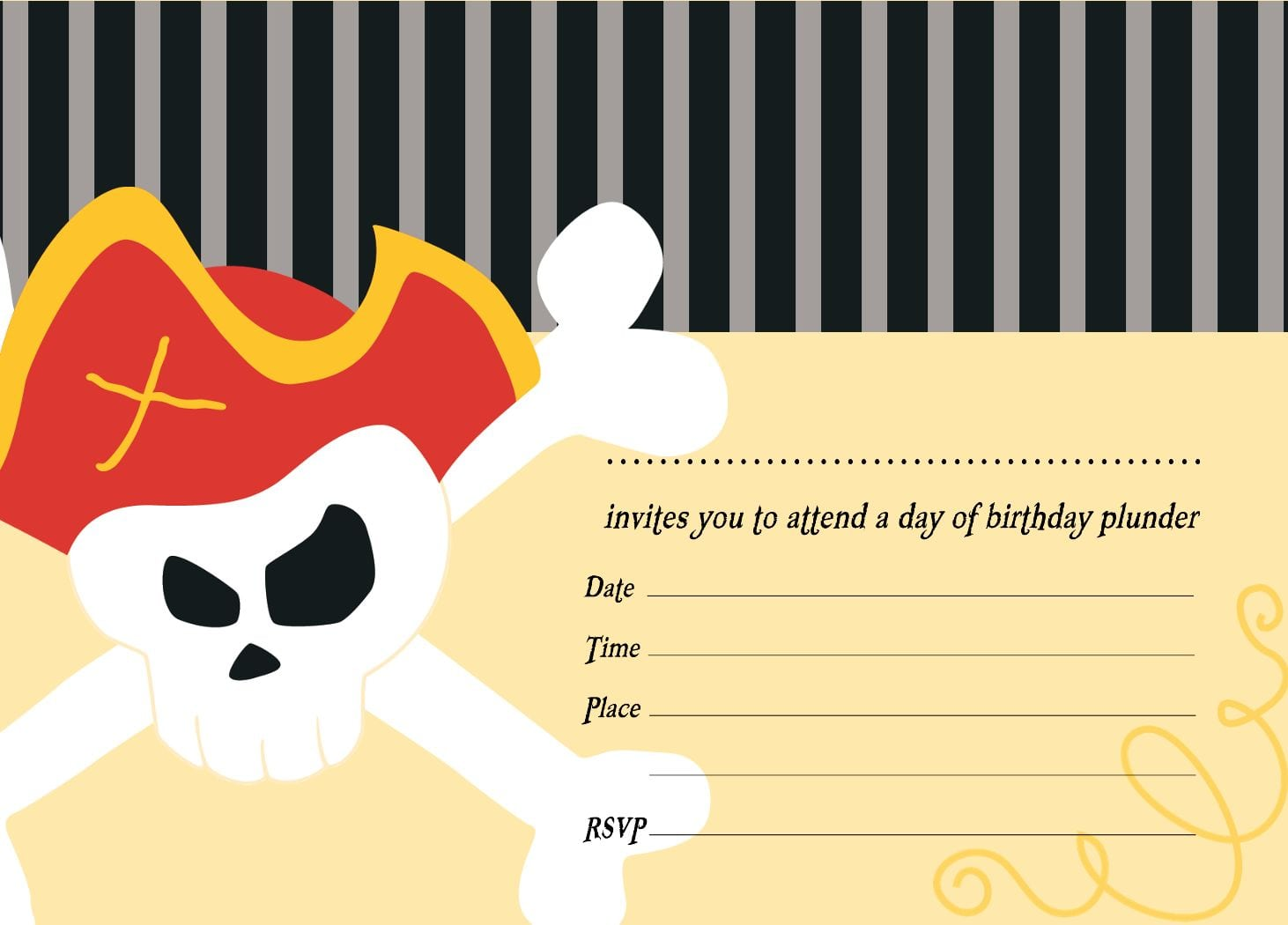 free template for a pirate birthday invitation