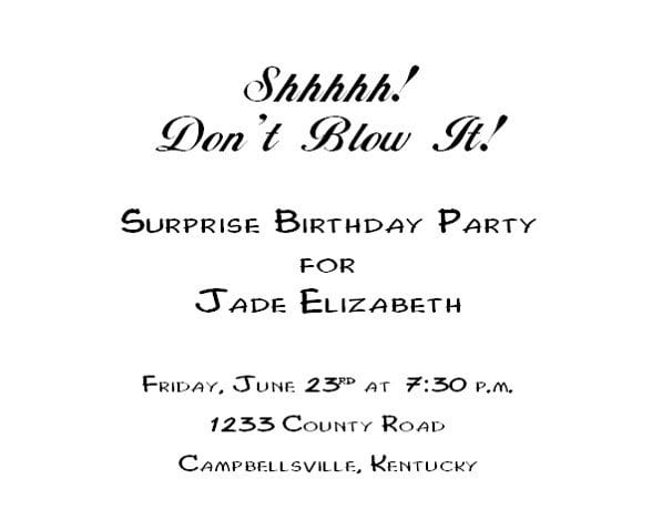 Free Template For Surprise Birthday Party Invitation 5