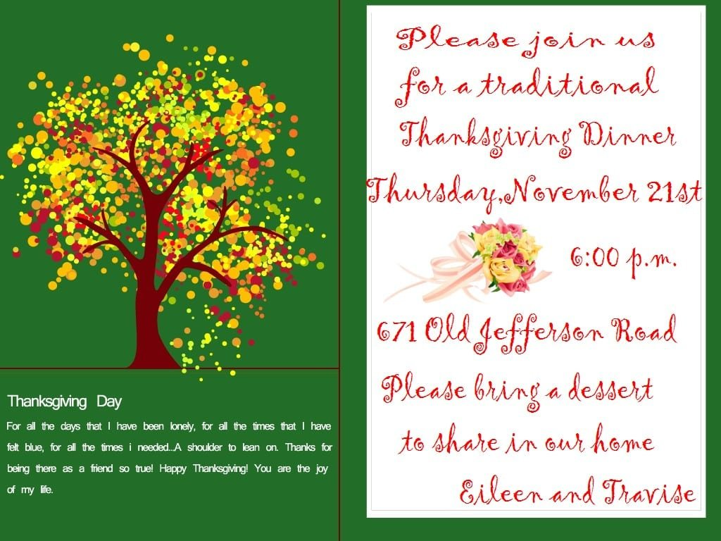 Free Thanksgiving Dinner Party Invitations