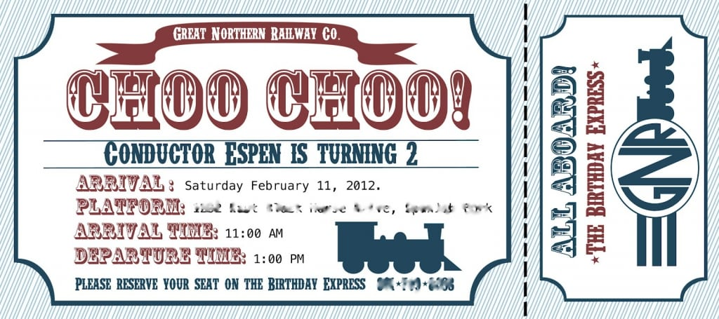 Free Train Ticket Birthday Invitation Template