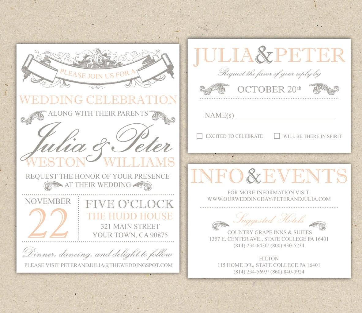 Free Vintage Wedding Invitation Template