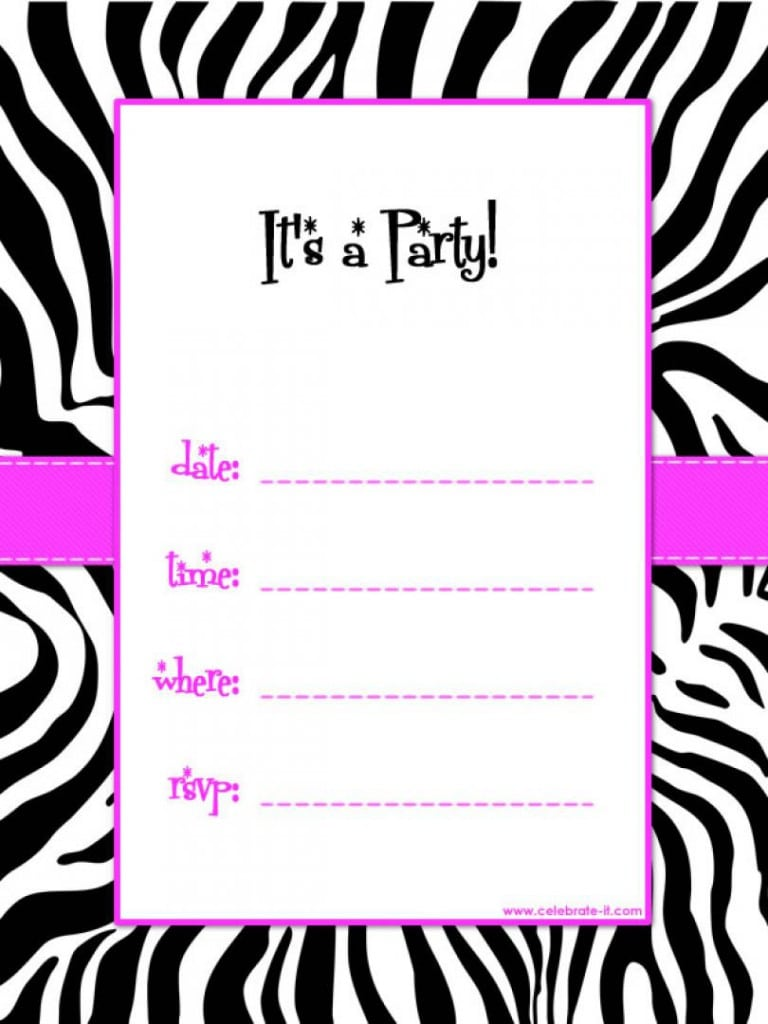 Free Zebra Print Invitation Template 2