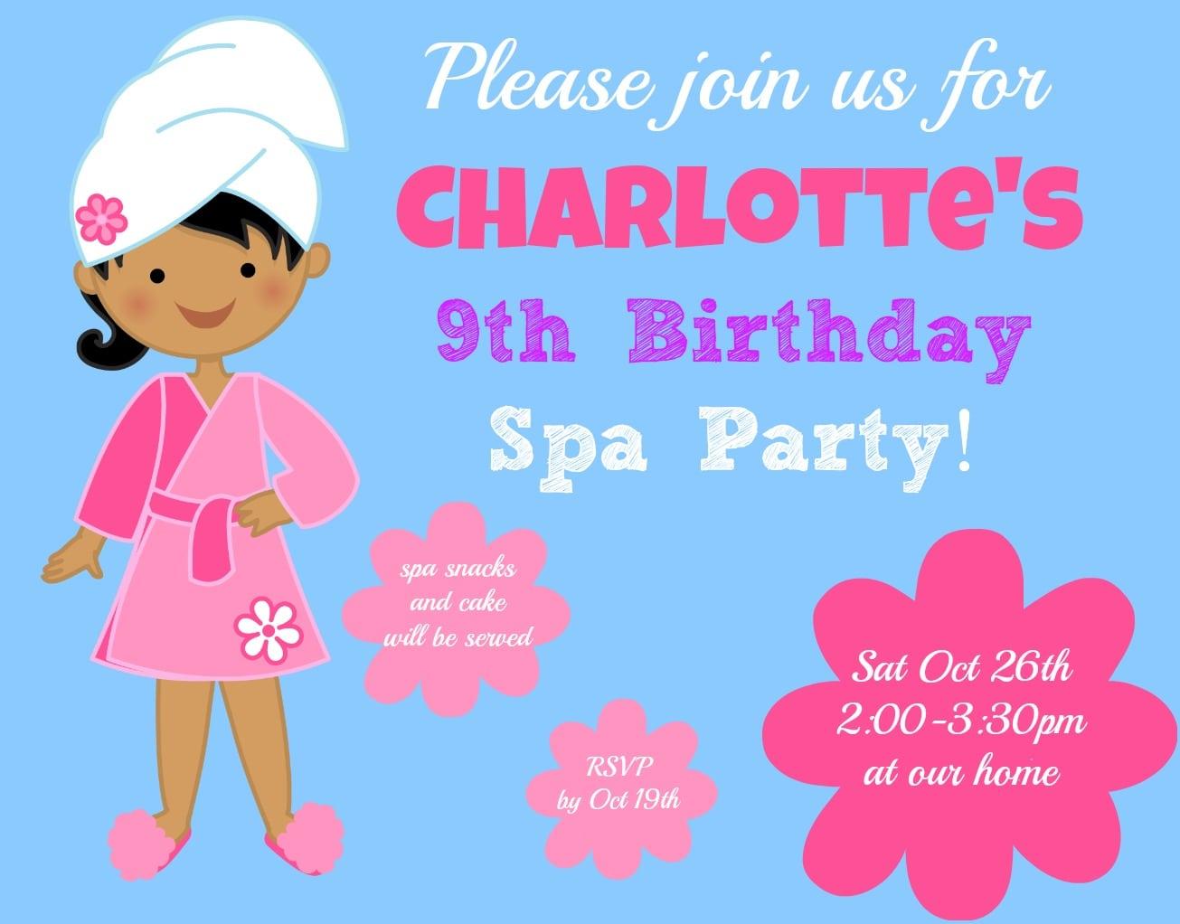 Girls 9 Year Old Birthday Invitation