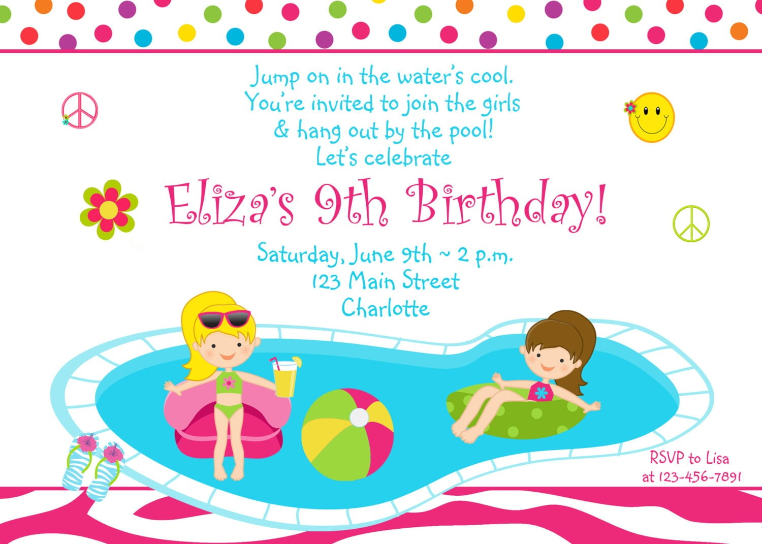 Girls Birthday Invitations For A Pool Party