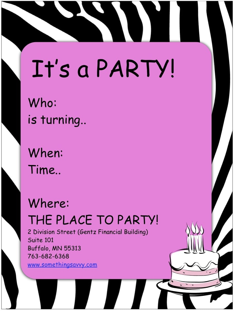 Girls Party Invites Printable