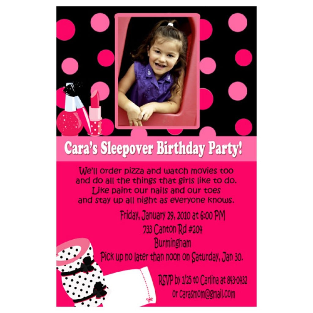 Girls Slumber Birthday Party Invitations 2