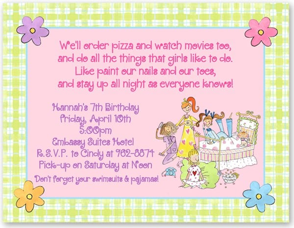 Girls Slumber Birthday Party Invitations 3
