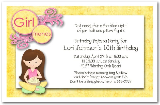 Girls Slumber Birthday Party Invitations 4