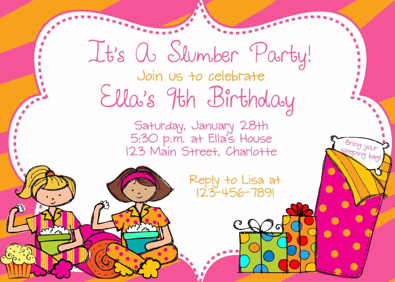 Girls Slumber Birthday Party Invitations