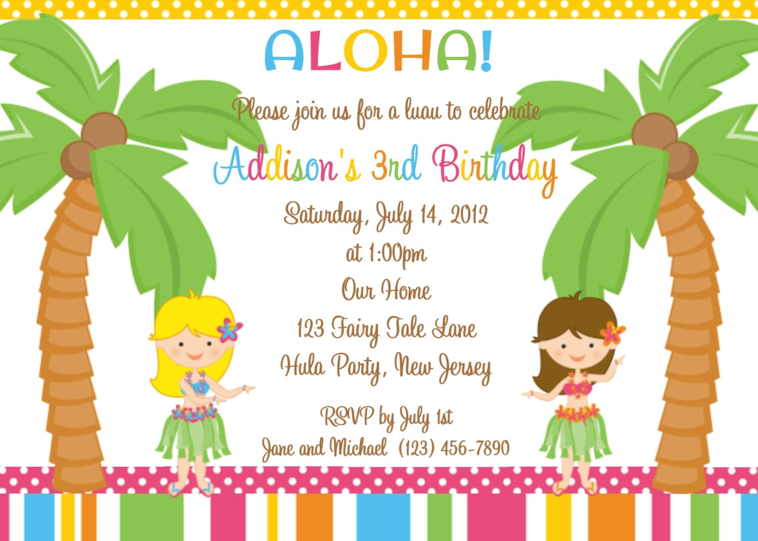 Hawaiian Invitations For Kids
