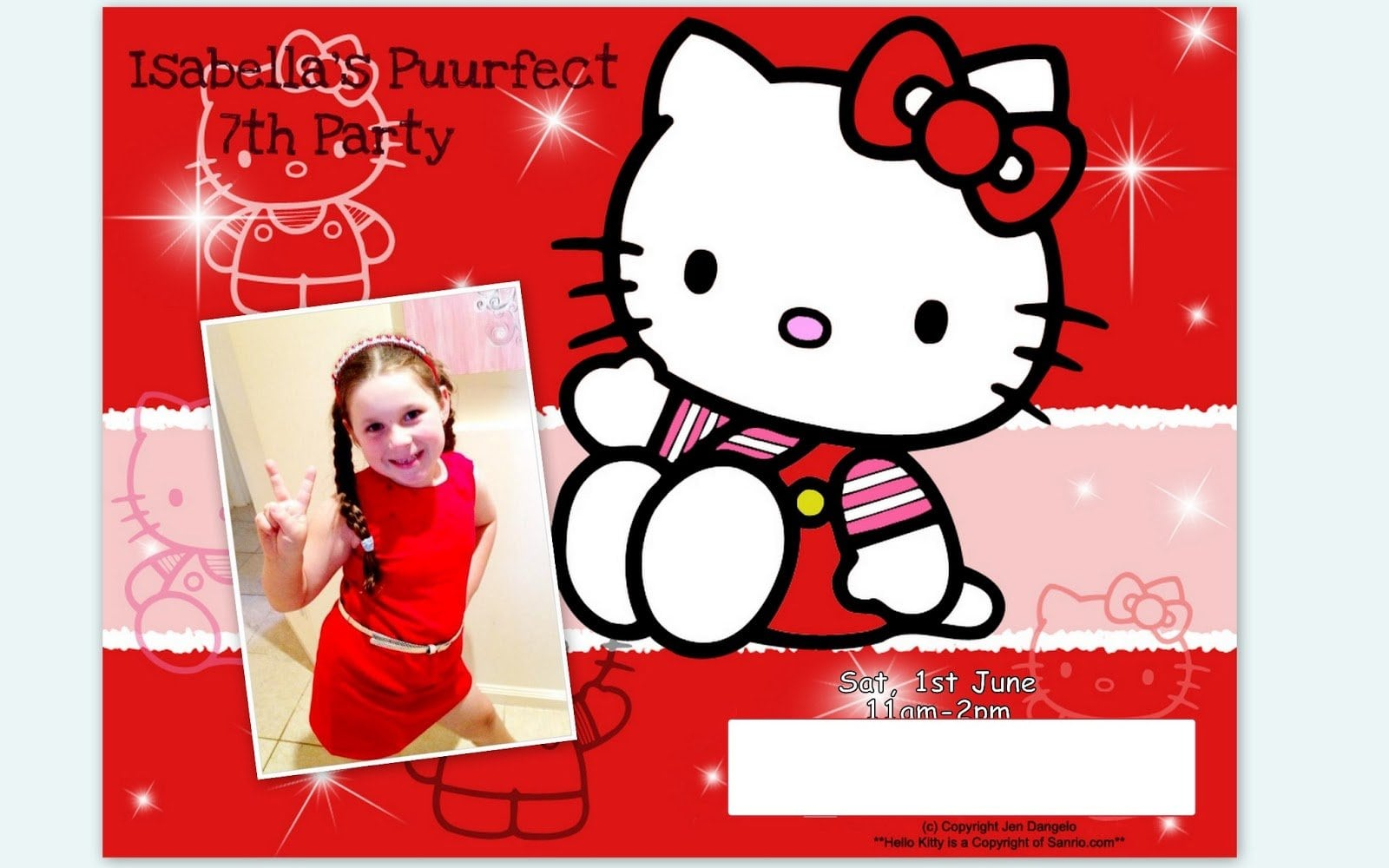 Hello Kitty 7th Birthday Invitation