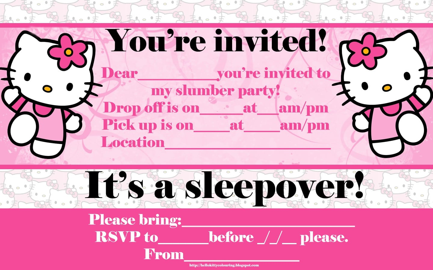 Hello Kitty Background For Invitation
