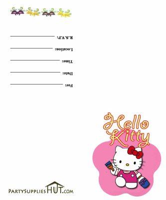 hello kitty birthday invitation free