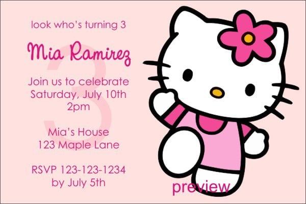 Hello Kitty Birthday Invitation Free Templates