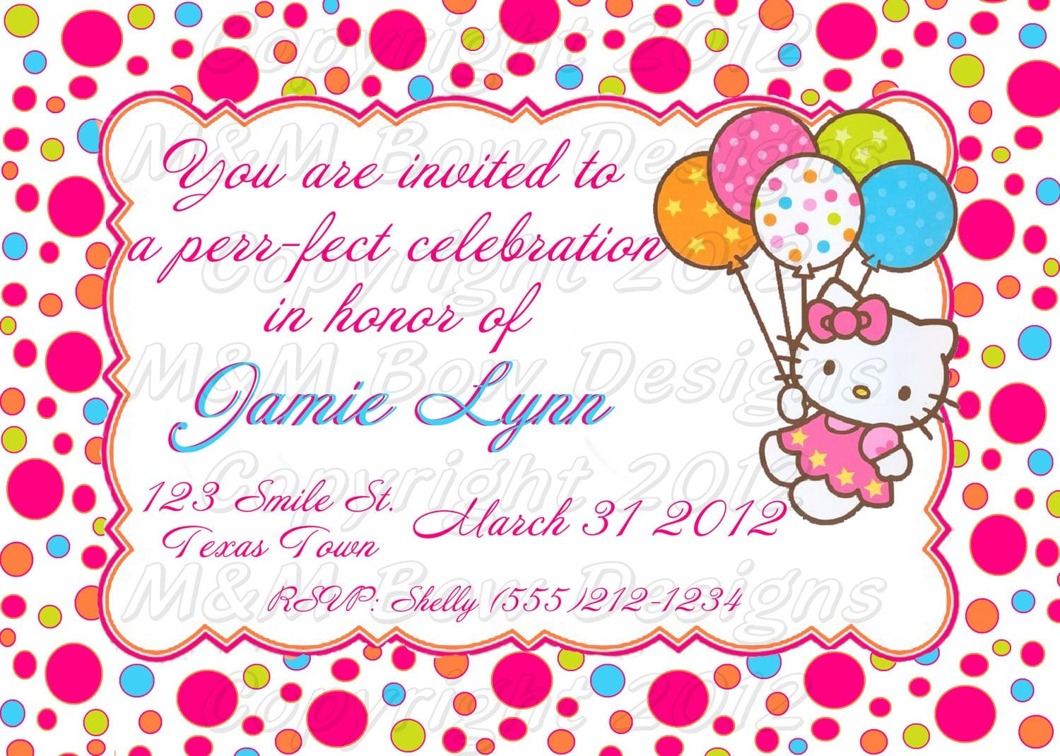 Hello Kitty Invitation Birthday Party Birthday Party Invitations ...