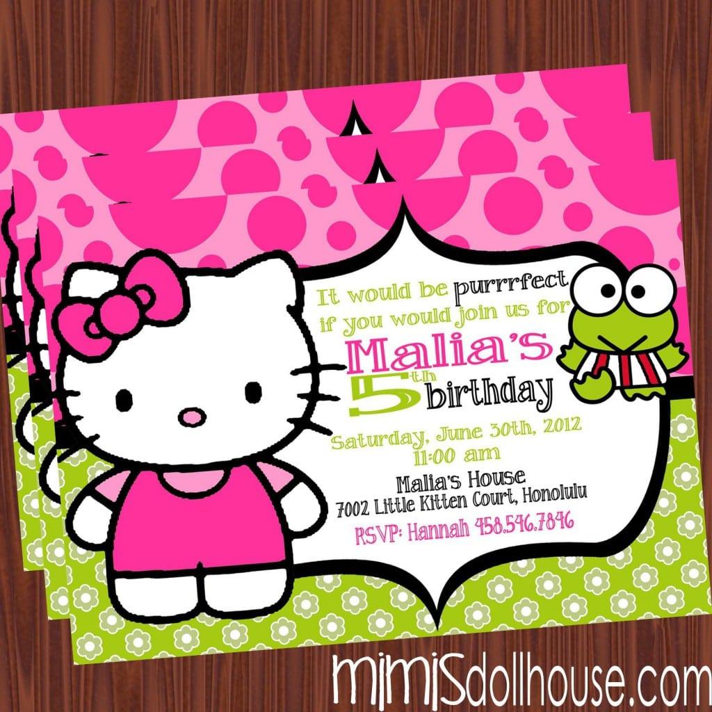 Hello Kitty Birthday Party Invitation Empty 2