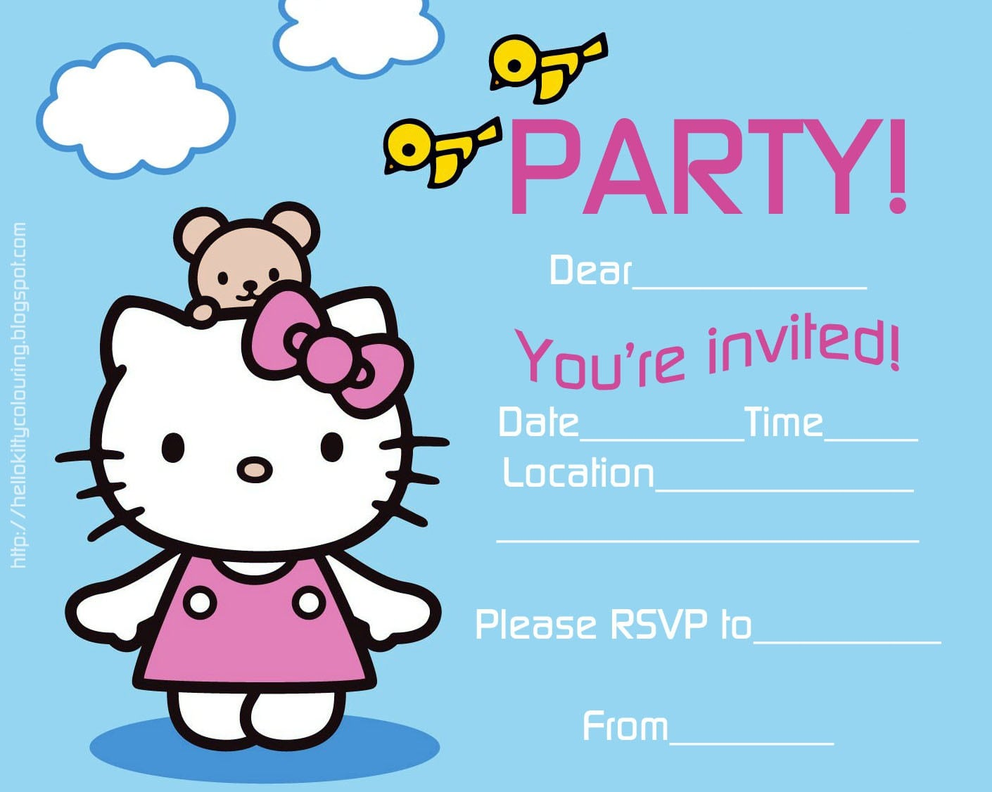 Hello Kitty Free Invitation Template 3