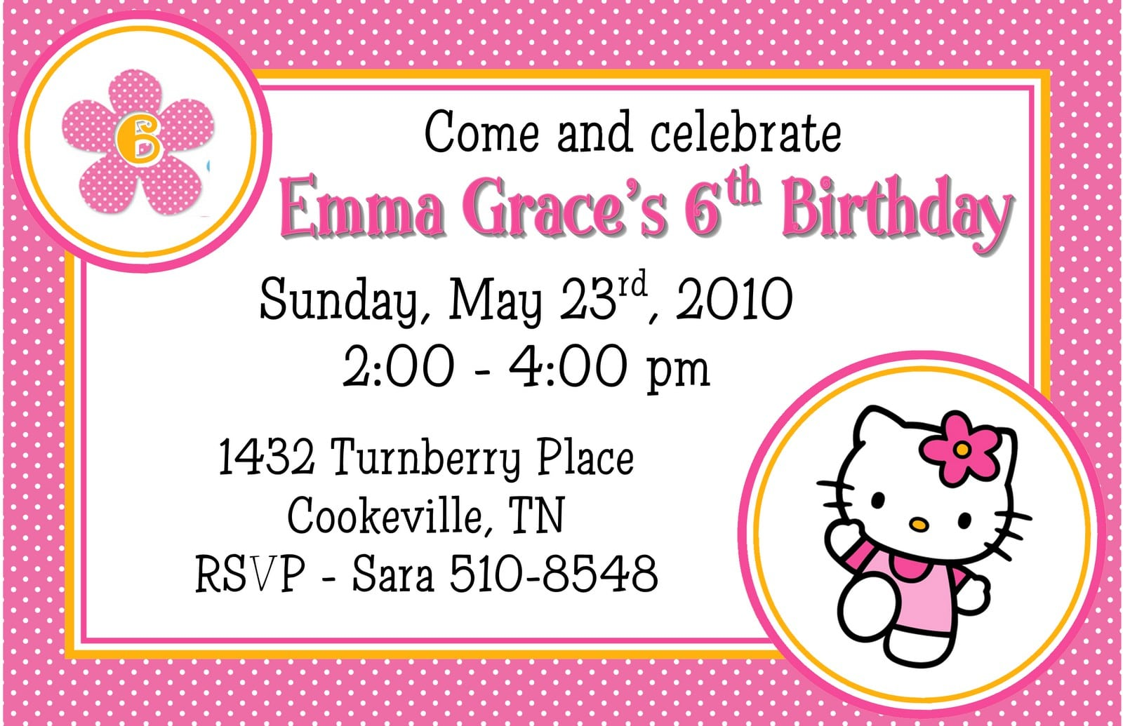 Hello Kitty Free Invitation Template