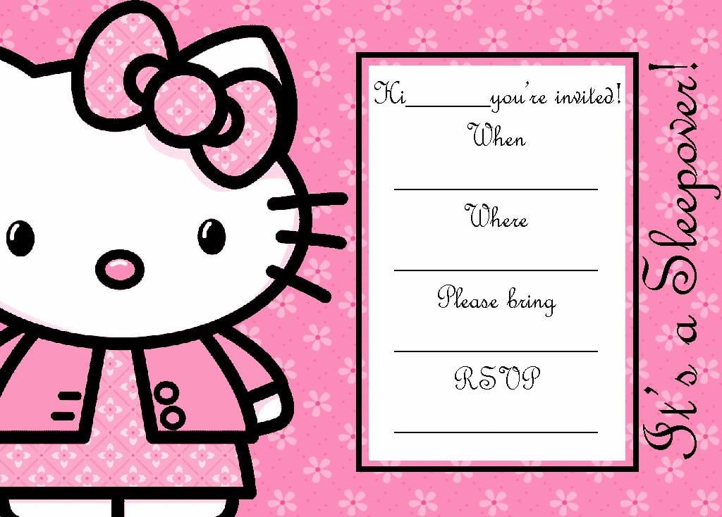 hello kitty invitation blank template