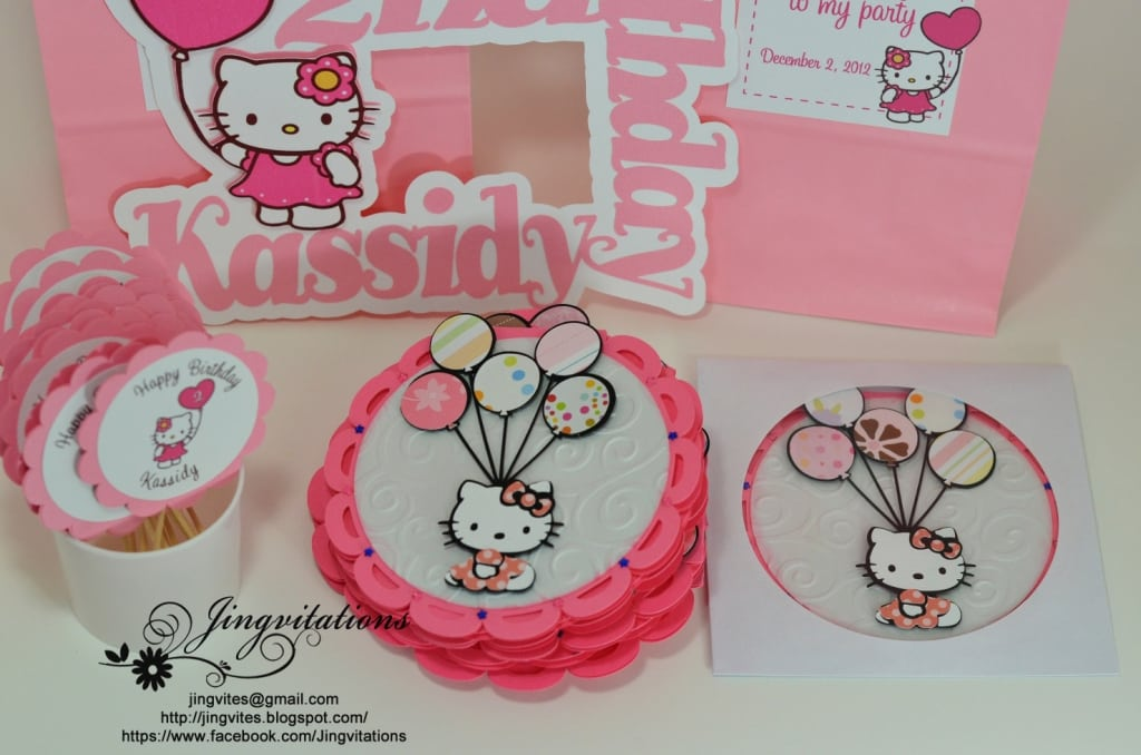 Hello Kitty Invitation Party Cake Topper