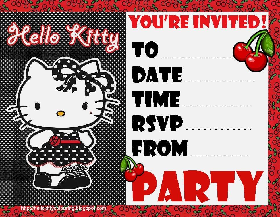 Hello Kitty Invites For Swim Party 2