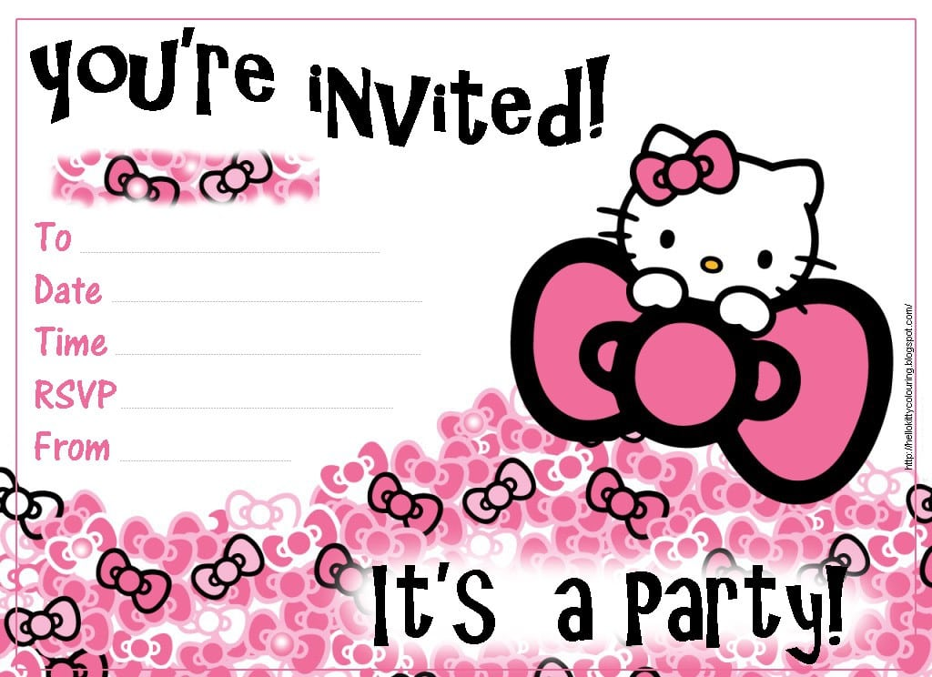 Hello Kitty Invites For Swim Party