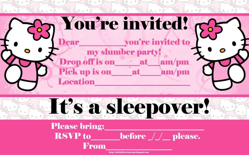 Hello Kitty Printable Sleepover Invitations