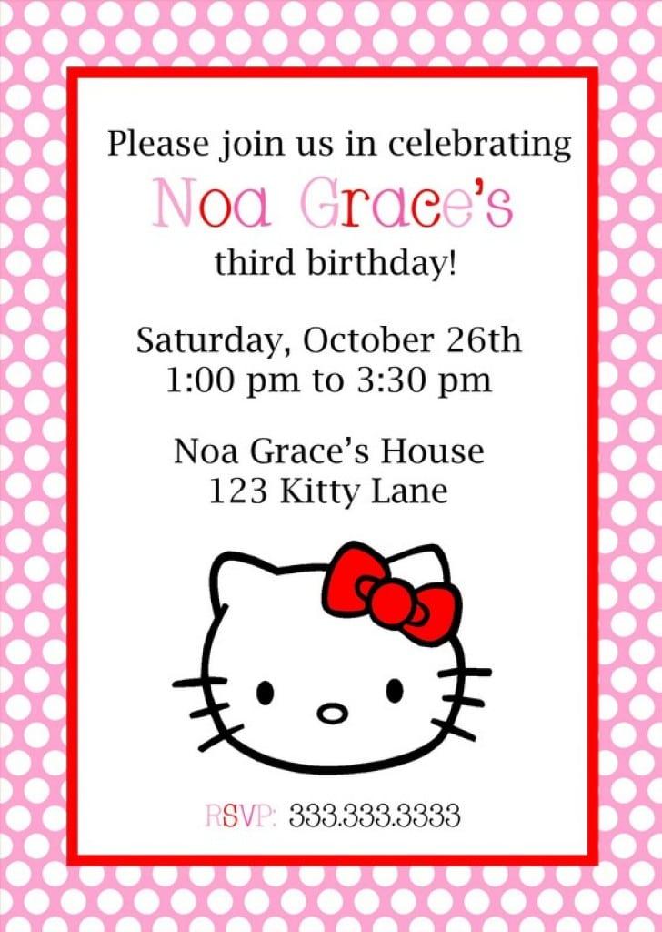hello kitty ticket invitations template 2