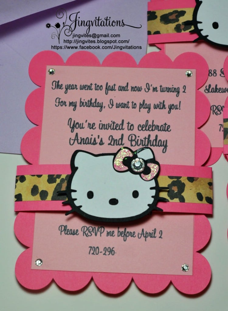 Hello Kitty With Cheetah Print Party Invitations 5