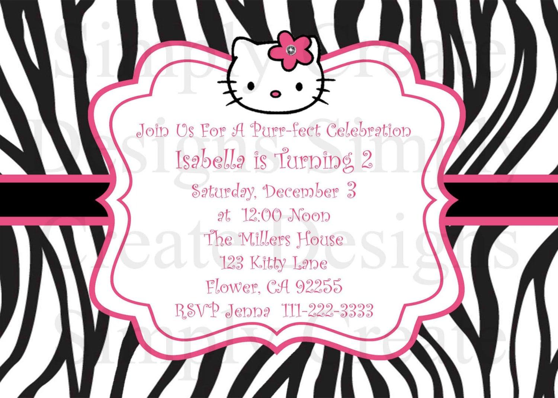 Hello Kitty Zebra Birthday Invitations