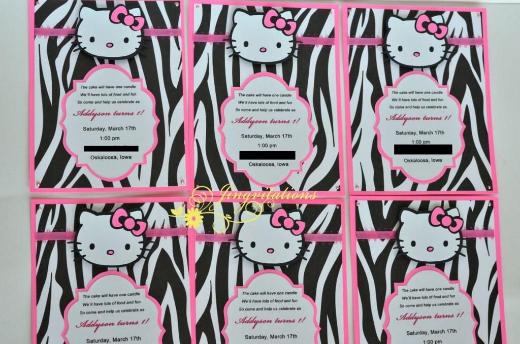 Hello Kitty Zebra Party Invitations