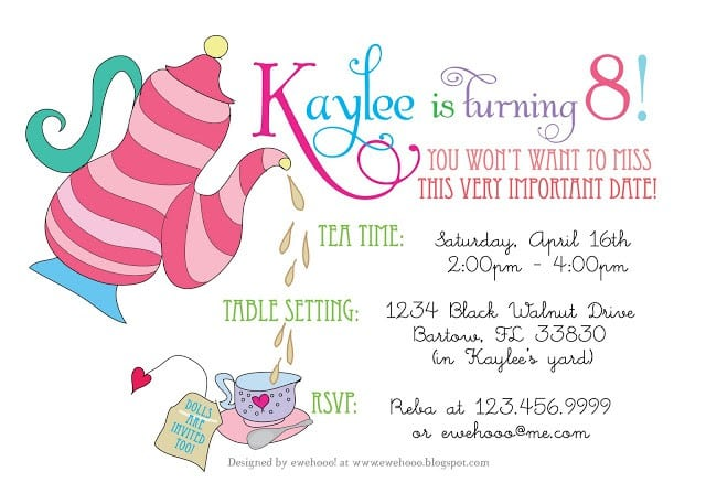 High Tea Invite Template Free 3