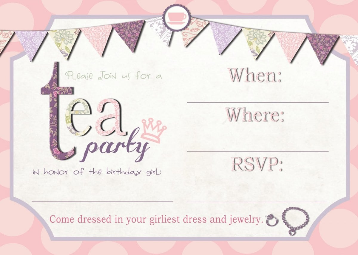 Tea Party Invitations Peellandfmtk - Party invitation template: birthday party invitation template free online