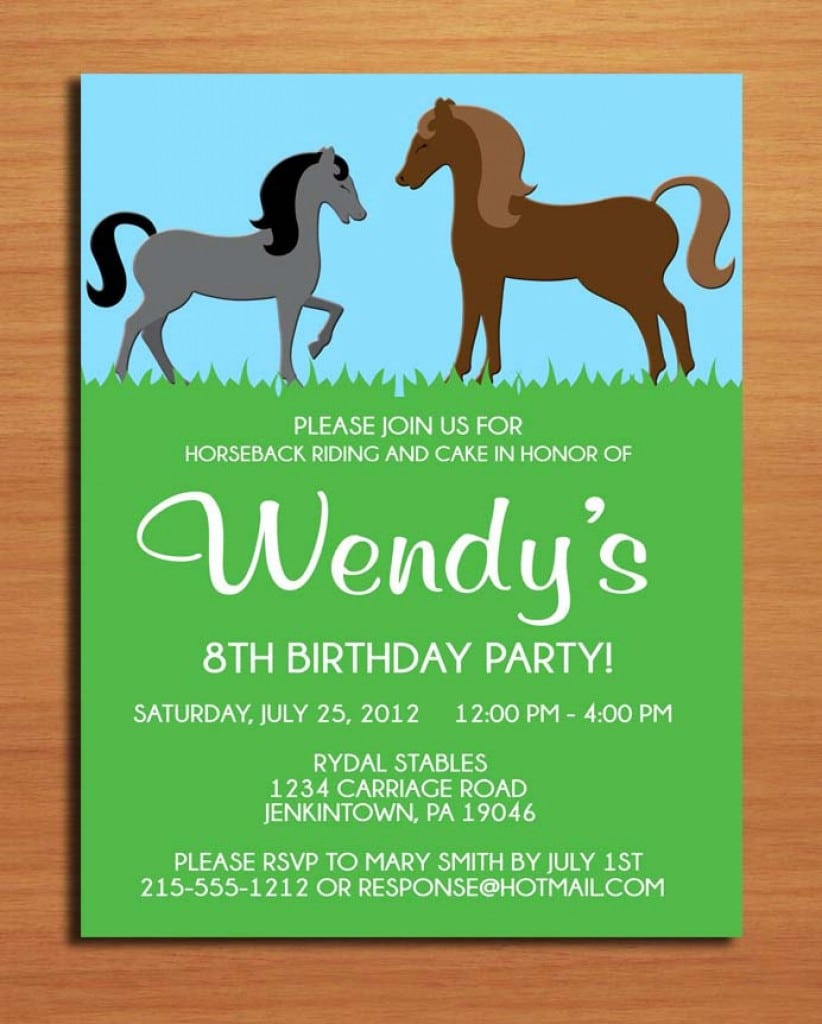 Horse Birthday Invitations Free Printable