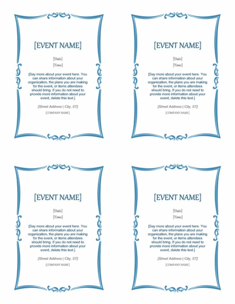 event invitation word template – Invitation Information Template