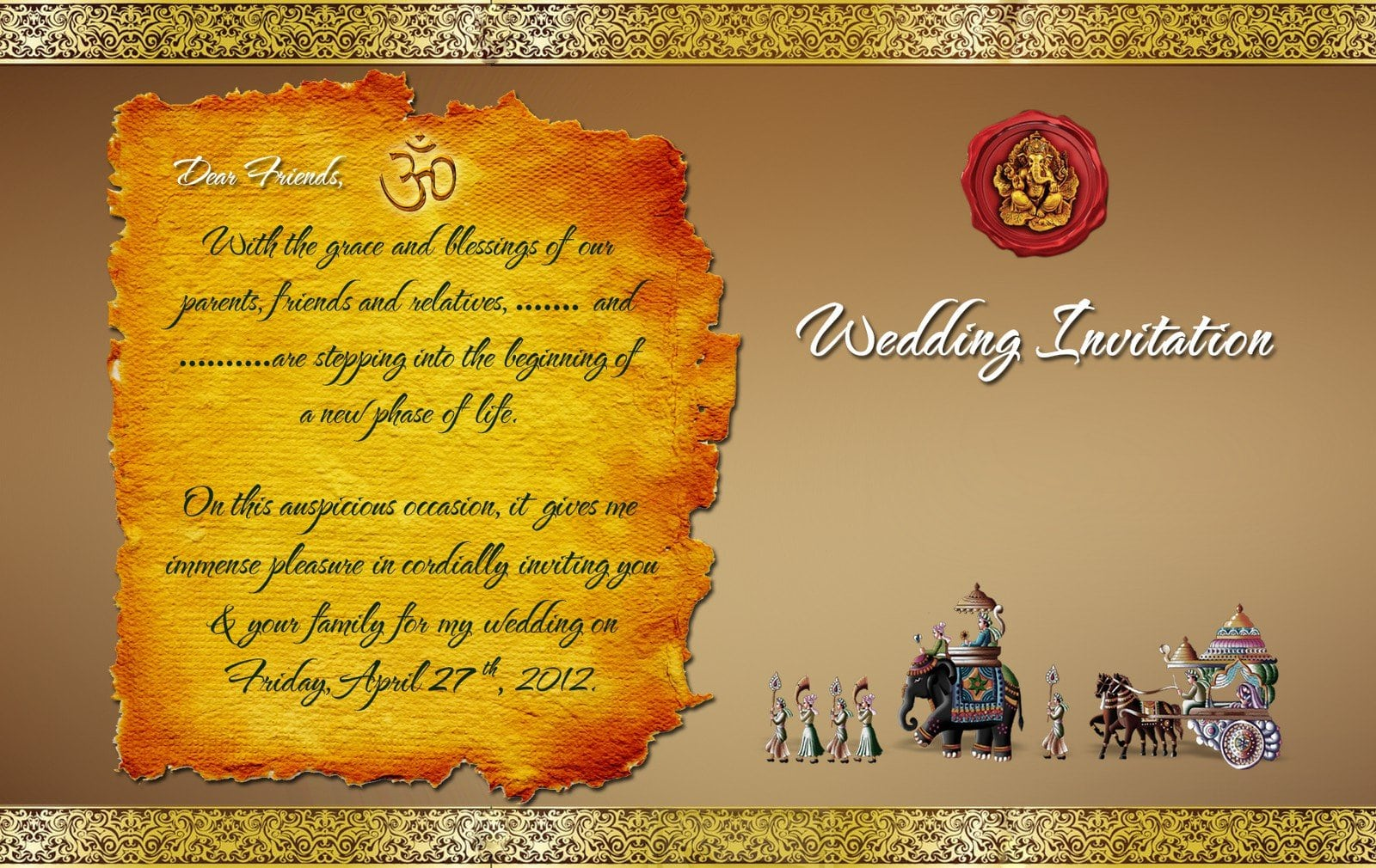 Indian Marriage Invitation Templates