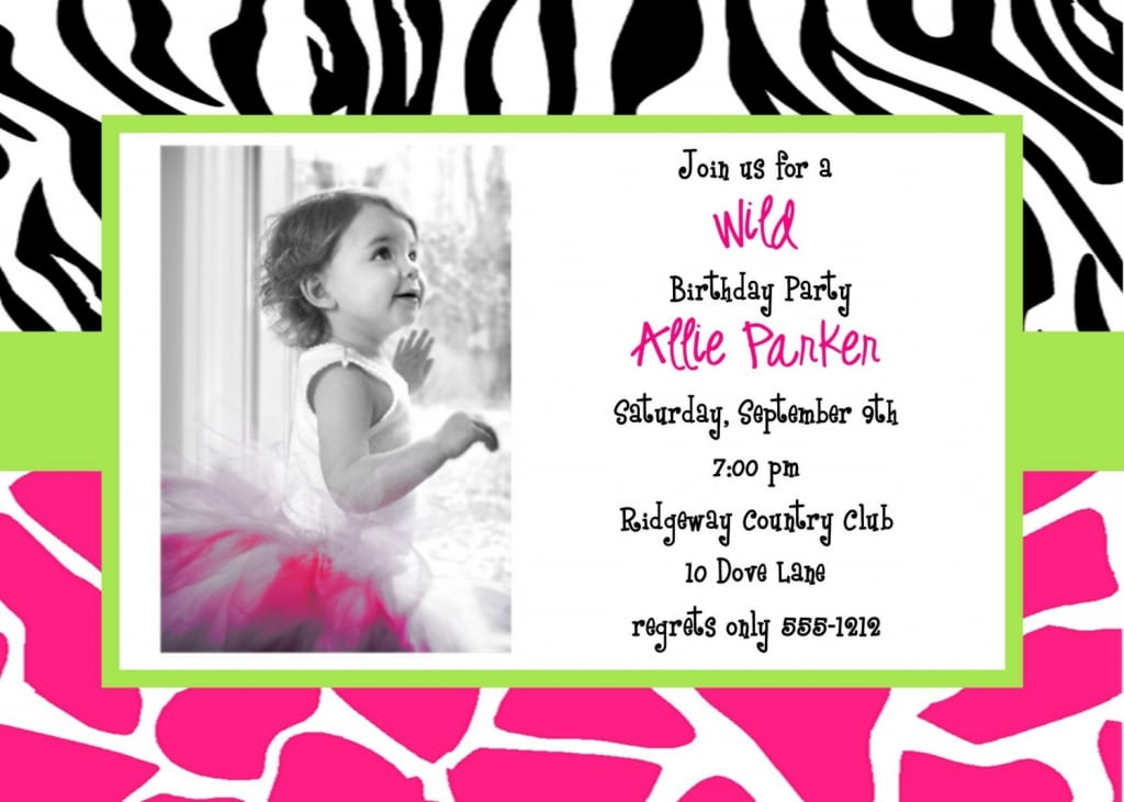 Invitation 1 Birthday Picture Free Print
