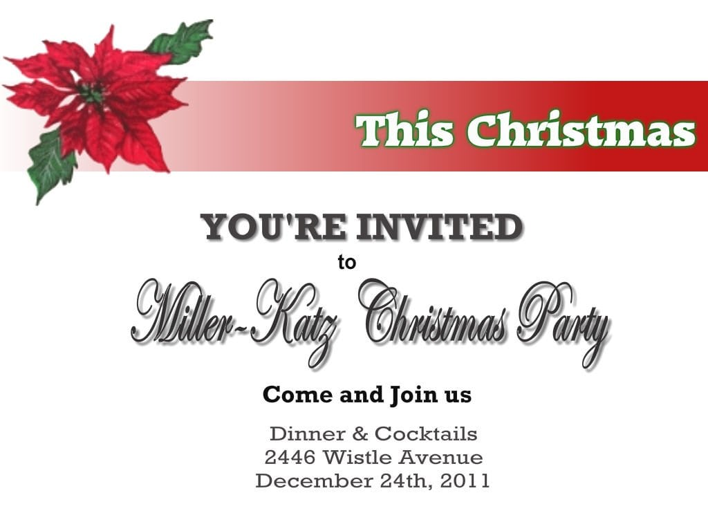 Invitation Card Template Christmas Party