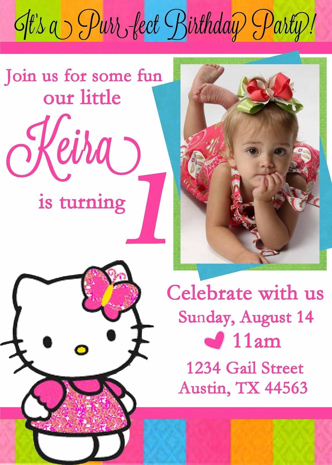 Invitation For 1st Birthday Hello Kitty