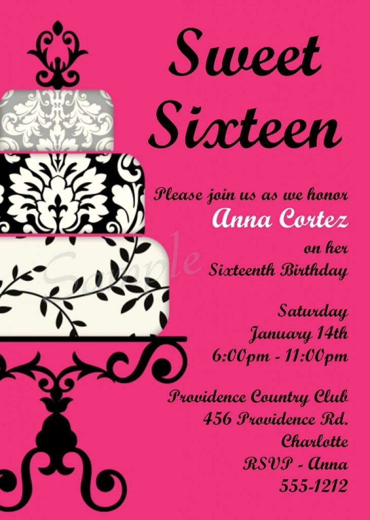 Invitation Templates For Sweet 16 Party